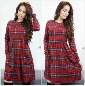 Cozy Red Plaid Dress